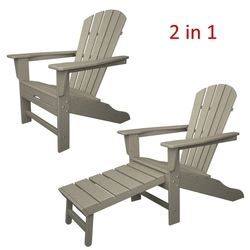 CASA BRUNO South Beach Ultimate butaca Adirondack con reposapiés extensible, HDPE poly-madera, gris