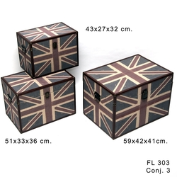 Set de 3 baules madera British