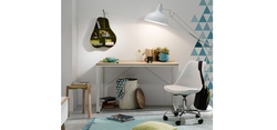 Mesa estudio blanco y roble