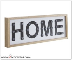Cartel luminioso de madera led Home